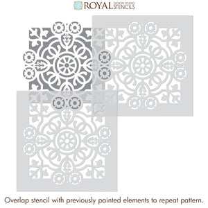 DIY Bathroom Design - Paint Stencils - Modern Farmhouse Bathroom Stencils - Bathroom Tile Stencils - Royal Design Studio Stencils
