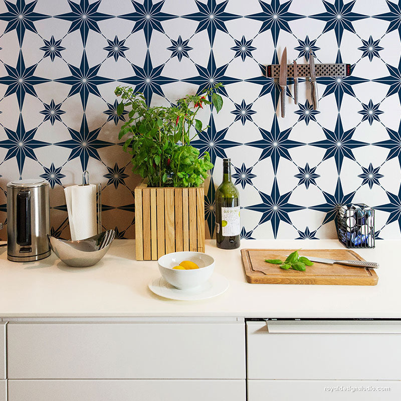 Blue and White DIY Kitchen Backsplash Tile - Tile Stencils for Painting Kitchen Design - Modern Farmhouse Kitchen Tile Stencils - Geometric Stencils - Modern Stencils - Royal Design Studio Stencils
