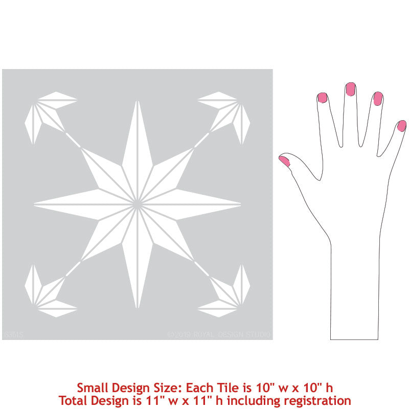 Star Tile Stencil for Painting DIY Decor - Geometric Floor Tiles Stencil - Modern Tile Pattern - Royal Design Studio Stencils
