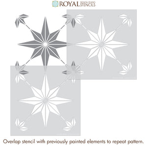 European or Moroccan Stars Tile Pattern Stencil - Floor Design Stencil for Painting - Royal Design Studio Paint Stencils