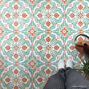 Large Tile Stencil - Floor Stencil for Painting Floor Pattern - DIY Floor Tiles - Tiled Floor Design - Old World, European, Spanish Tiles - Painting Stencils - Royal Design Studio Stencils