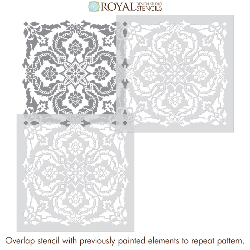 Old World Classic Damask Wallpaper Wall Pattern Stencil for Painting - Large Tile Stencils for Wall Painting - Royal Design Studio Stencils