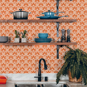 Oranges Wall Art Scallop Wall Pattern - Modern Kitchen Backslash Stencils - Lemon Wall Stencils - Royal Design Studio