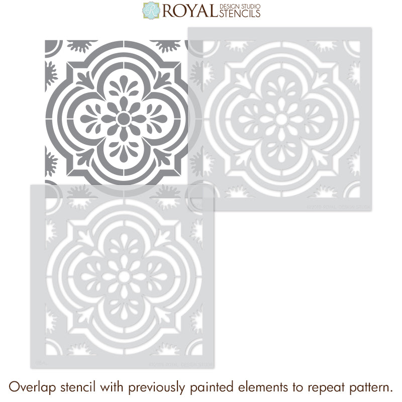 Havana Tile Stencils - Decorative Tile Pattern Stencils for Painting Wall Design - Royal Design Studio