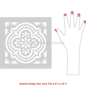 Havana Tile Stencils - Spanish Tile Floors - Encaustic Cement Tile Pattern Stencils - Royal Design Studio