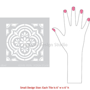 Havana Tile Stencils - Painted Concrete Floor Stencils - Tile Painting Design - Royal Design Studio