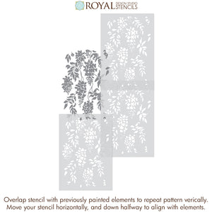 Wisteria Vine Wall Pattern Stencils Classic Floral Wallpaper Design Paint Stencils - Royal Design Studio