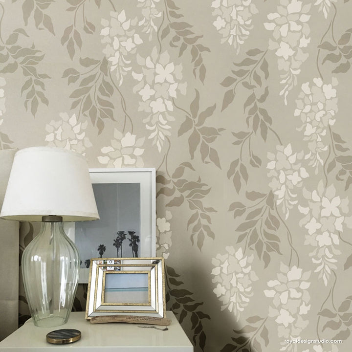 Wisteria Flowers Wall Stencils Floral Wallpaper Wall Pattern Stencils - Royal Design Studio