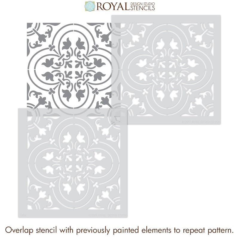 Bathroom Floor Tile Stencils - Kitchen Floor Tile Stencils - CLassic European Tiles Floor Stencils for Painting - Royal Design Studio