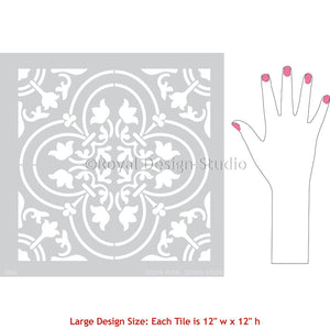 Classic European Tile Wall Art - Tile Wall Design Stencils - Large Tile Stencils for Painting Walls - Royal Design Studio