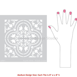 DIY Tile Stencils - Spanish Encaustic Cement Tiles Pattern - Tile Stencil Decor Project - Royal Design Studio