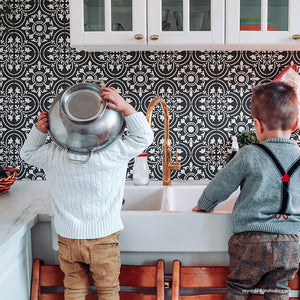 Black and White Tile Backsplash - Kitchen Wall Paint Stencils - Painted Tile Stencils - Royal Design Studio