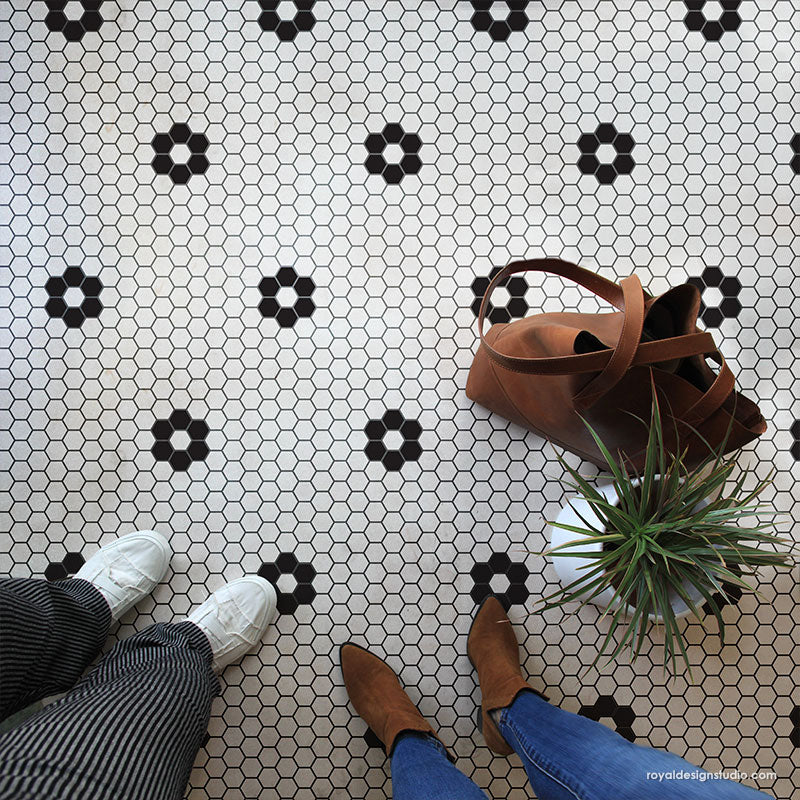 Penny Tile Stencils Hexagon Shape Tiles Floor Stencils