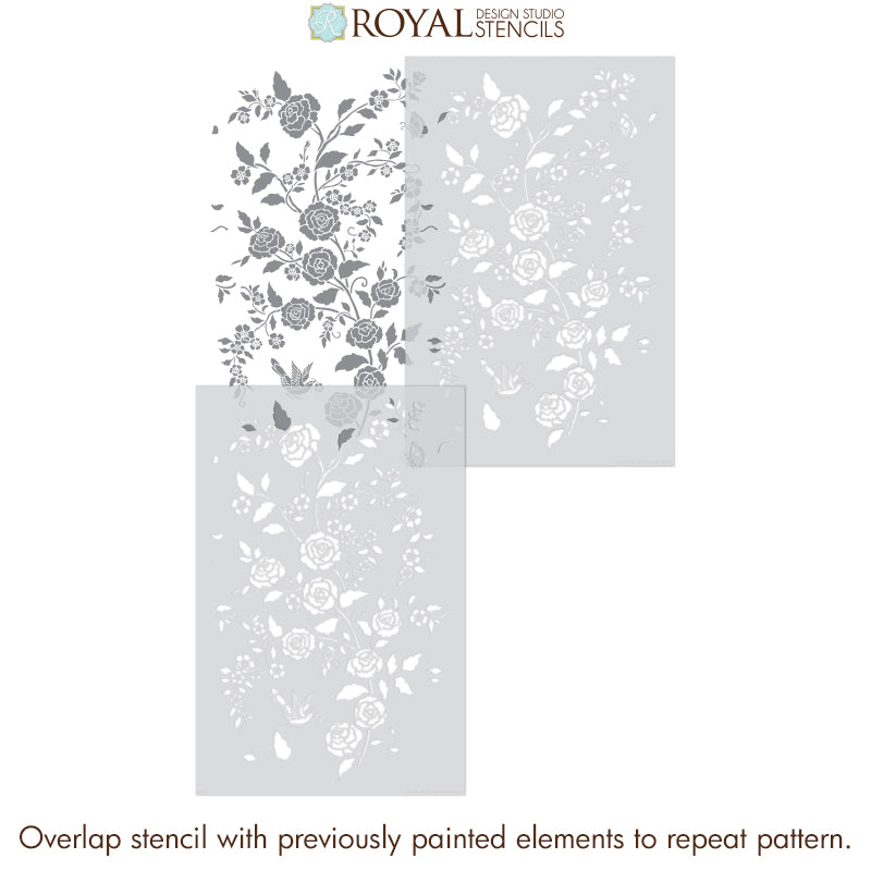 Meandering Rose Chinoiserie Wall Stencil