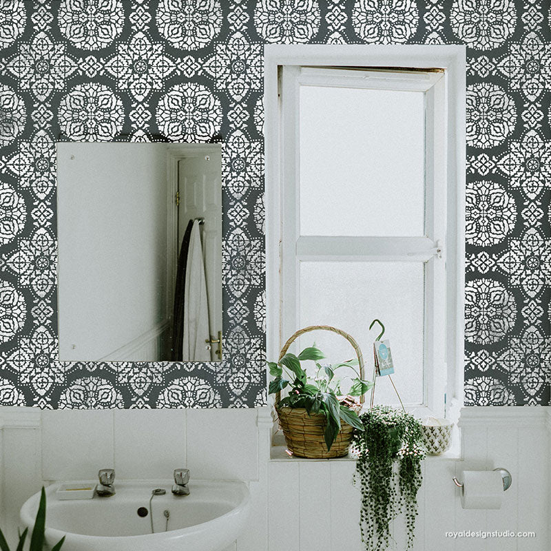 Black and White Bathroom Design - Boho Wall Mural Stencils - Wall Tile Stencils for Painting - Royal Design Studio