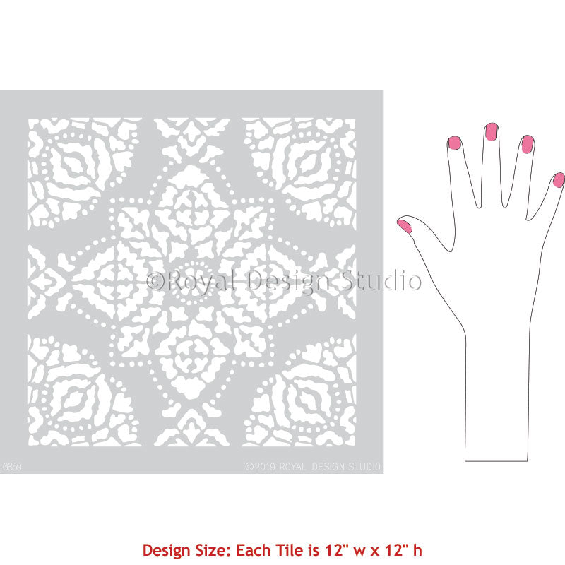 DIY Tile Stencils for Painting Floor Pattern Stencils - Indian Boho Block Print Tile Design - Royal Design Studio
