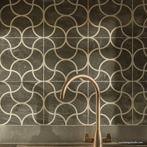 Modern Tile Painting Stencils - Geometric Kitchen Backsplash Decor Stencils - Modern DIY Decor Project - Royal Design Studio