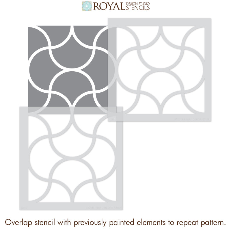 Modern Kitchen Backsplash Wall Pattern Stencils - Geometric Tile Stencils for Painting DIY Decor - Royal Design Studio