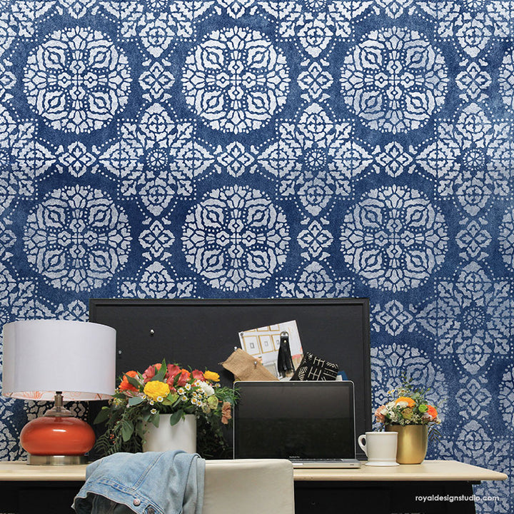 NEW! Bagru Block Print Allover Wall Stencil