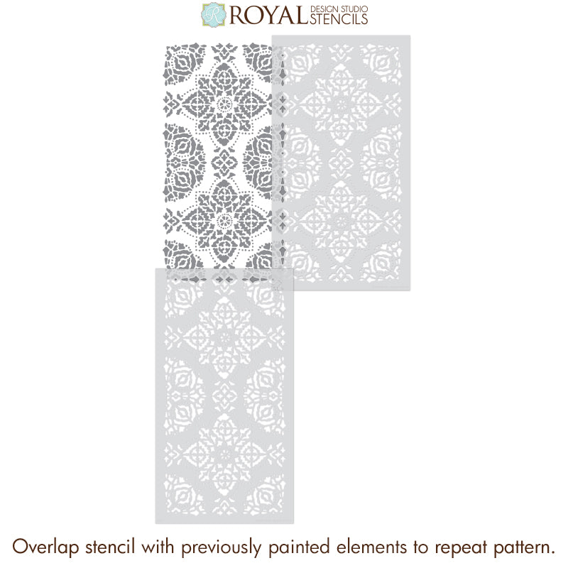 Large Tile Stencils for Painting Boho Decor - Large Wall Stencils - Bohemian Style Wallpaper Stencil - Royal Design Studio