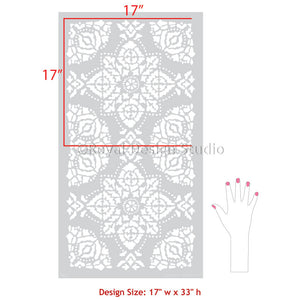 Indian Decor Turkish Decor Bohemian Decor - Large Wall Stencils for Bedroom Wallpaper Tile Pattern - Royal Design Studio