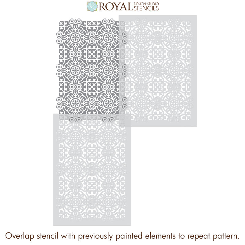 DIY Tile Floor Pattern Stencils for Painting European Style Tiles - Isabella Allover Tile Stencil - Royal Design Studio