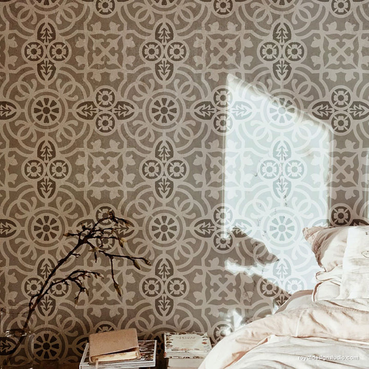 Large Stencil Design for Painting Tile Wall Art Stencils - Isabella Allover Tile Stencil - Royal Design Studio