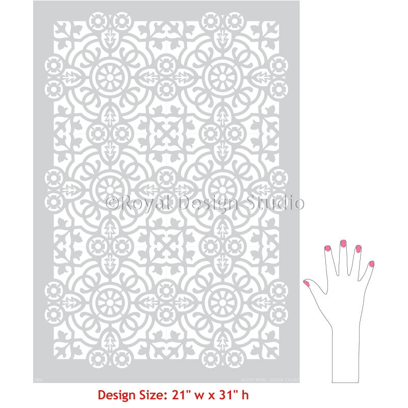 Decorative Concrete Stencils Large Floor Tile Stencils - Isabella Allover Tile Stencil - Royal Design Studio
