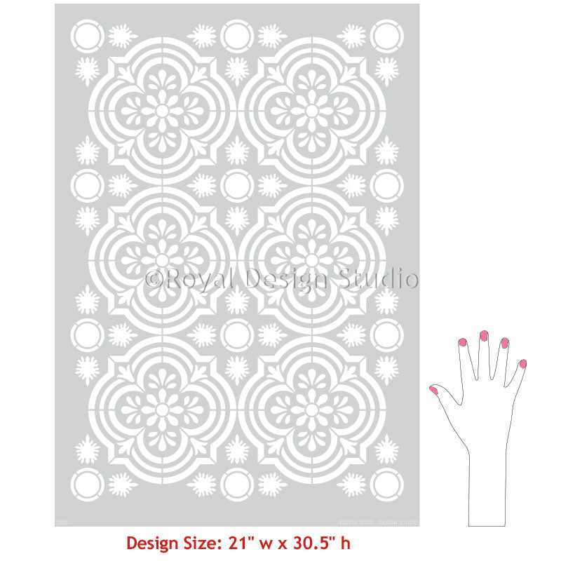 DIY Tile Design Stencils Floor Paint Stencils - Havana Allover Tile Stencil - Royal Design Studio