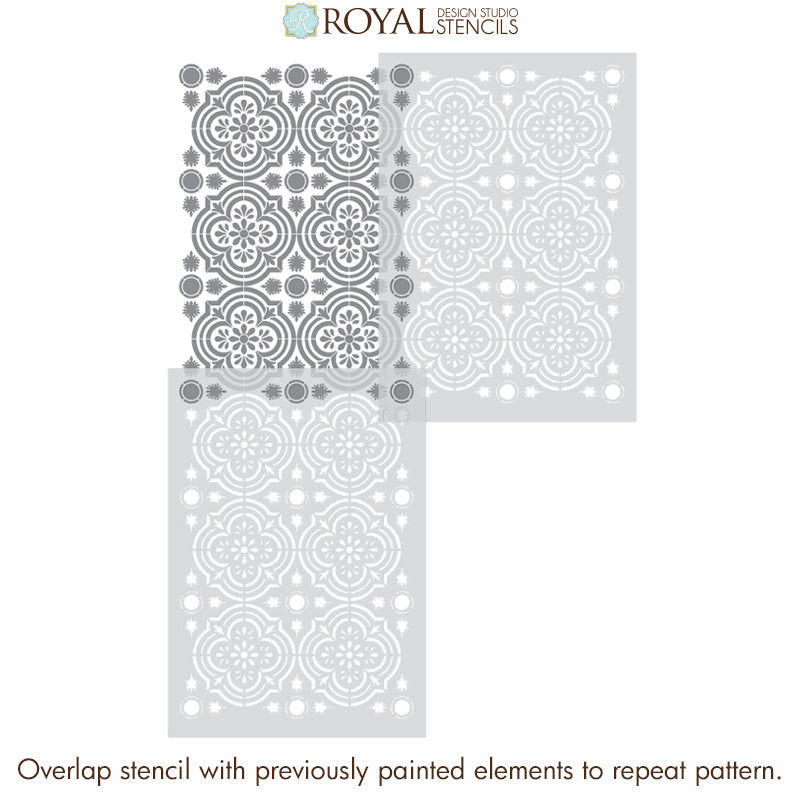 European Style Tile Mural Stencils Faux Tile Paint Stencils - Havana Allover Tile Stencil - Royal Design Studio