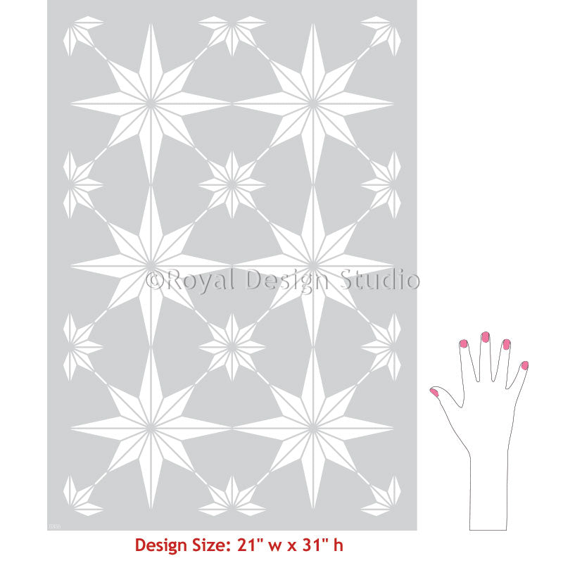 Tiled Floor Stencils Painting Stencils for Floor Tiles - You're A Star Tile Stencil from Royal Design Studio