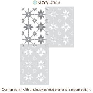 Patio Floor Stencils Porch Tile Stencils - You're A Star Tile Stencil from Royal Design Studio