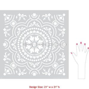Decorative Tile Stencil Floor Painting Stencils - Chatsworth Tile Stencil from Royal Design Studio Stencils
