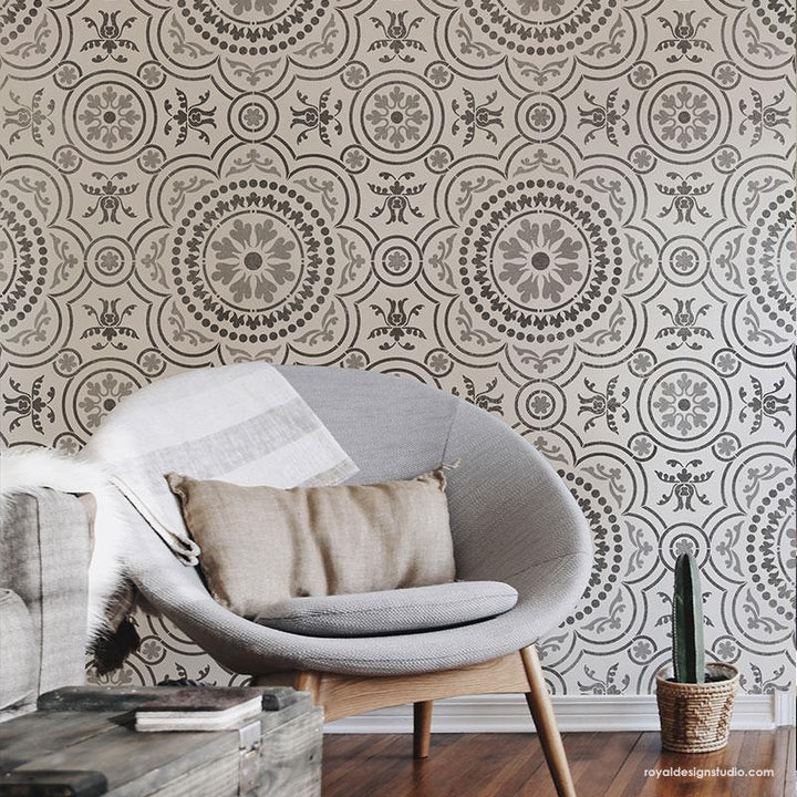 Large Stencil for Painting Tile Design for Modern Living Room Wall Art - Chatsworth Tile Stencil from Royal Design Studio Stencils
