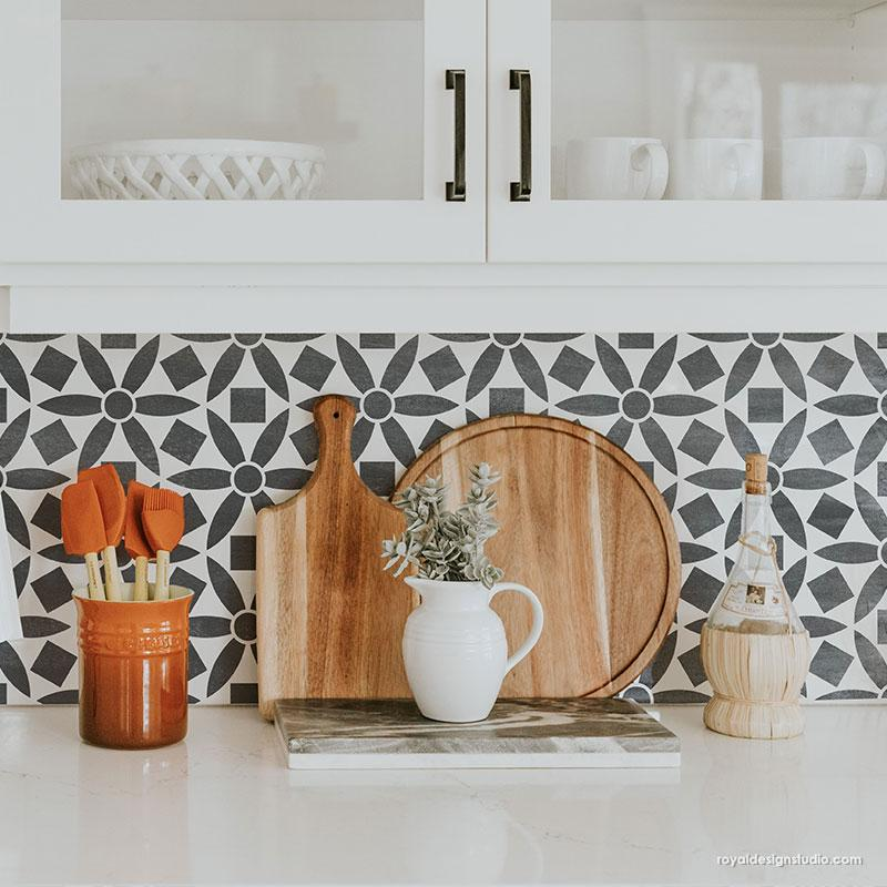 Black and White Kitchen Backsplash Design Modern Stencil Pattern - Ranae Geometric Floral Stencil from Royal Design Studio Stencils