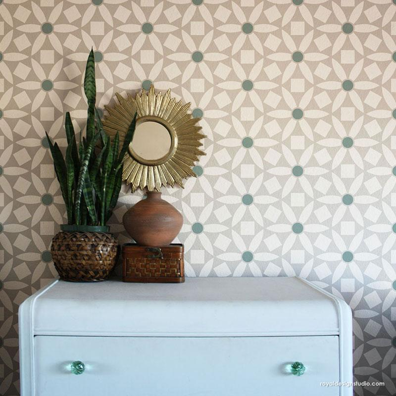 Modern Wall Art Modern Stencils - Ranae Geometric Floral Stencil from Royal Design Studio Stencils