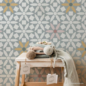 Modern Nursery Wallpaper Design Paint Stencils - Ranae Geometric Floral Stencil from Royal Design Studio Stencils