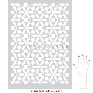 Modern Stencils for Painting Flower Wall Mural Art - Ranae Geometric Floral Stencil from Royal Design Studio Stencils