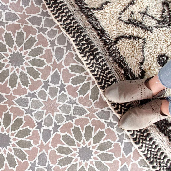 Moroccan Tiles Floor Stencils for Painting - Kasbah Tile Stencil from Royal Design Studio Stencils