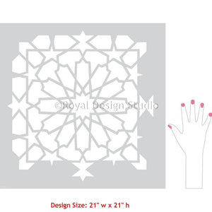 Geometric Stencil Pattern Moroccan Tile Pattern Stencils for Painting - Kasbah Tile Stencil from Royal Design Studio Stencils