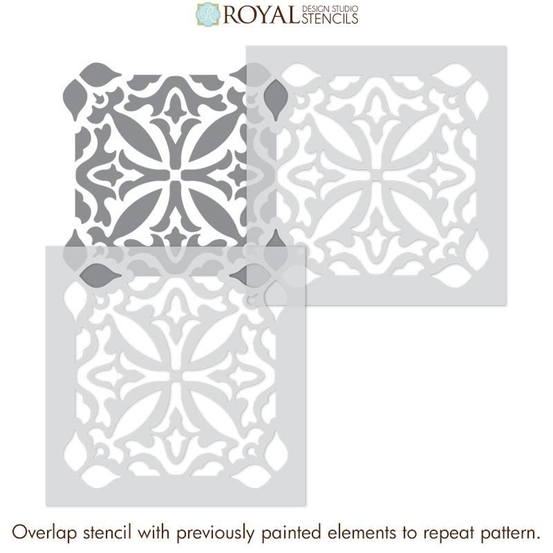 Bathroom Tile Stencils for Painting Floor Design - Island Dreams Tile Stencil from Royal Design Studio Stencils
