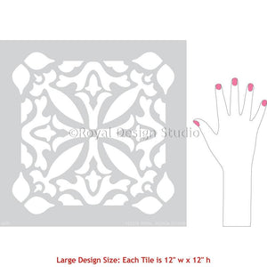Tile Stencil Pattern for Painting Floor - Island Dreams Tile Stencil from Royal Design Studio Stencils