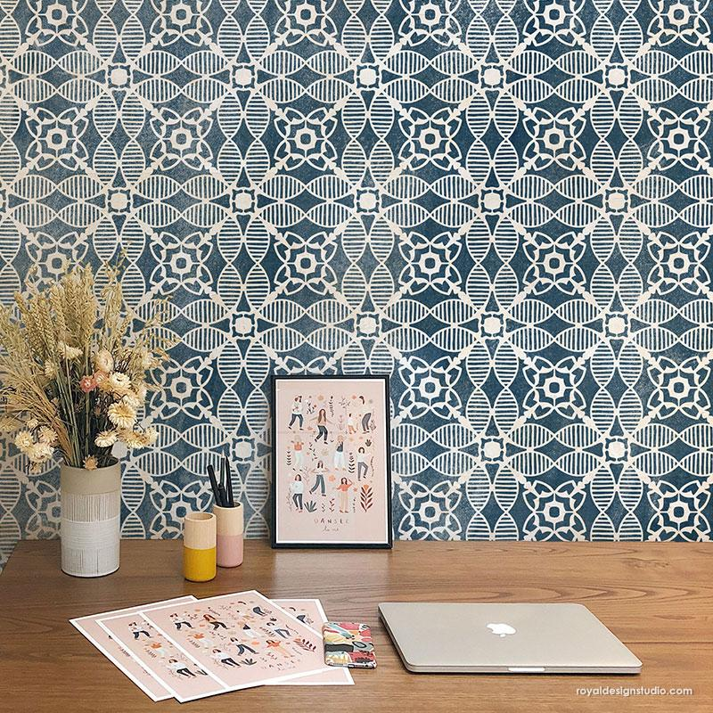 Abstract Wall Art Modern Tile Pattern - Amaranth Tile Stencil from Royal Design Studio Stencils