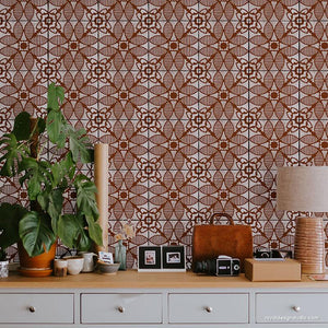 Bohemian Stencils for DIY Wall Decor Ideas - Amaranth Tile Stencil from Royal Design Studio Stencils