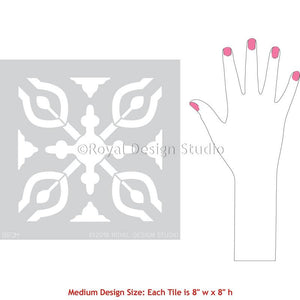 Spanish Tiles Pattern Bathroom Floor Stencils - Petra Tile Stencil from Royal Design Studio Stencils