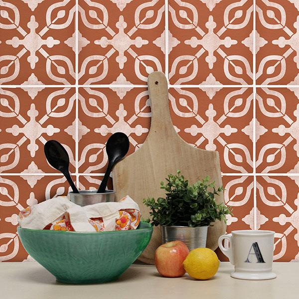 DIY Backsplash Tile Pattern Boho Kitchen Design Stencils - Petra Tile Stencil from Royal Design Studio Stencils