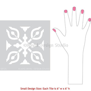 Tile Paint Stencils for Bathroom Ceramic Tile Floors - Petra Tile Stencil from Royal Design Studio Stencils