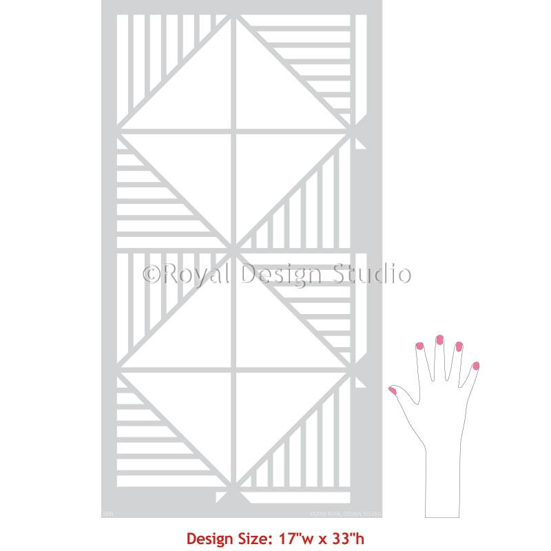 Modern Wall Pattern Stencils Geometric Wallpaper Design - Cross Connections Wall Stencil from Royal Design Studio Stencils