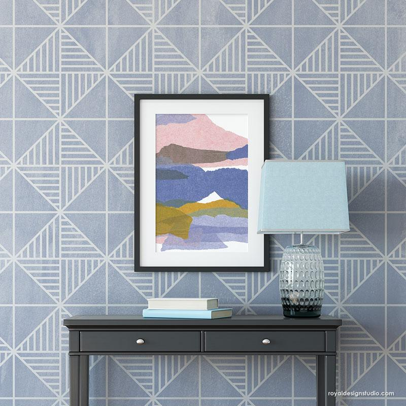 Geometric Wall Art Design Modern Paint Mural - Cross Connections Wall Stencil from Royal Design Studio Stencils