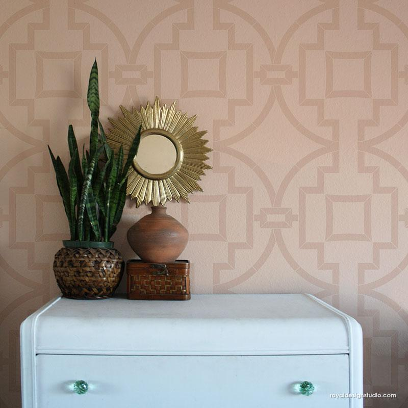 Modern Wall Paint Stencils - Geometric Wall Design Painting Stencils - Royal Design Studio